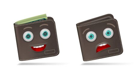 Full And Empty Funny Cartoon Wallet On White