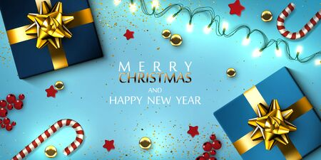 Christmas Greeting Card With Garland, Gifts Boxes