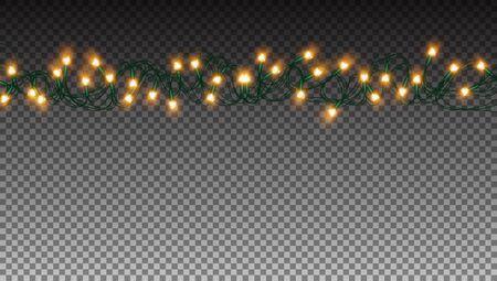 Glowing Golden Xmas Garlands Lights Bulbs String