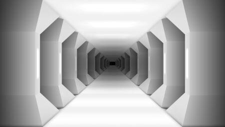 3D Futuristic White Columns Corridor Of Spaceship
