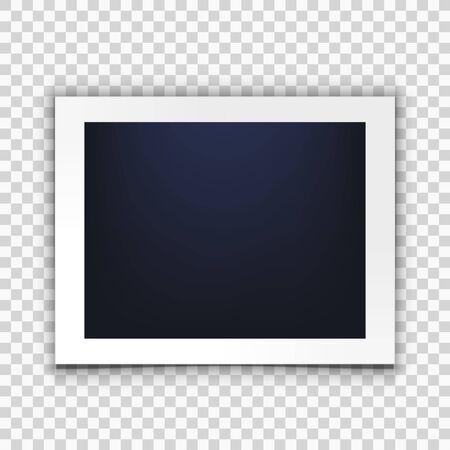 Blank Clear Photo Frame Isolated On Back Çizim
