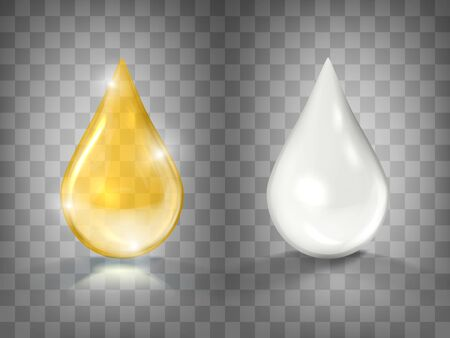 Gold Oil And White Cream Drops Isolated