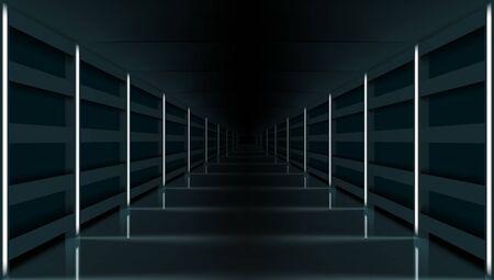 3D Futuristic Modern Hallway Dark Corridor Garage Çizim