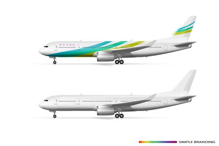 Blank White Airplane Or Airliner Side View Çizim