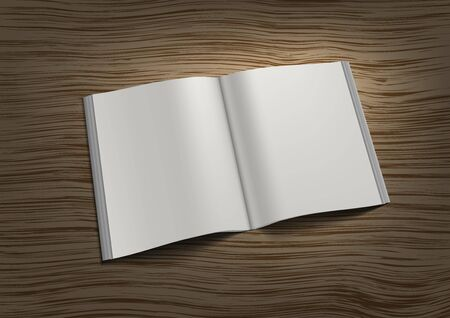 3D Blank Open Square Brochure On Table