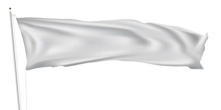 3D lange weiße Flagge am Fahnenmast weht im Wind Vektorgrafik