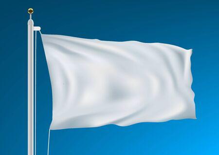 Bandera blanca vacía ondeando en el cielo azul limpio Ilustración de vector