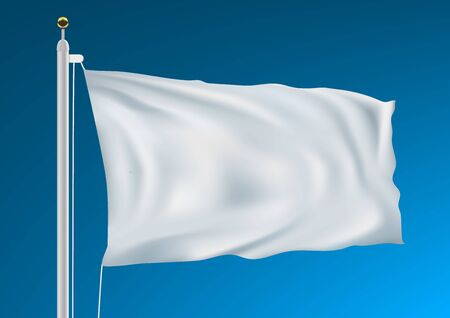 Empty White Clear Flag Waving In Clean Blue Sky Çizim