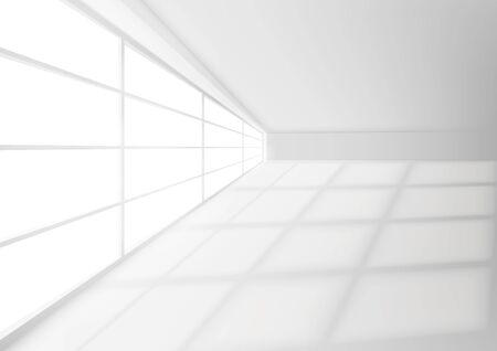 White Room Interior With Light Beam On Floor