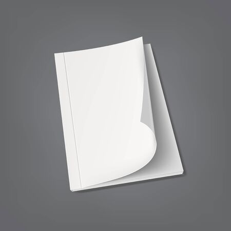 Blank Cover Of White Book Or Magazine On Gray Çizim