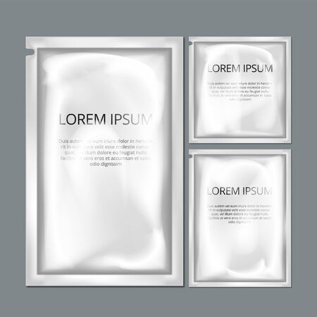 White Sachet Foil Paper Bag paper Mockup On Grey