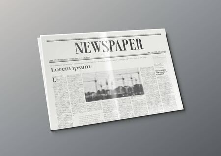 3D Business Newspaper On White Background Concept