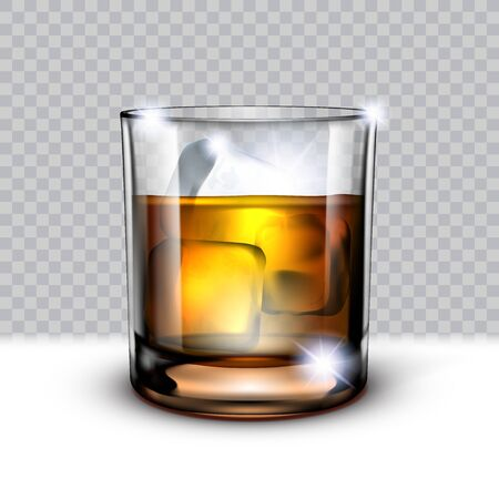 Realistic Glass Of Scotch Whiskey And Ice In It