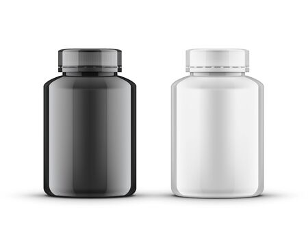 Realistic Glossy Plastic Bottle Medical Package. EPS10 Vector