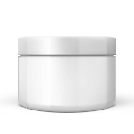 3D White Glossy Plastic Jar With Lid. EPS10 Vector