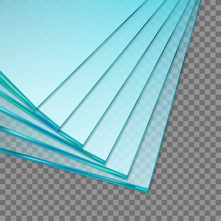 Stack Of Factory Manufacturing Sheets Of Tempered Clear Glass Panels. EPS10 Vector