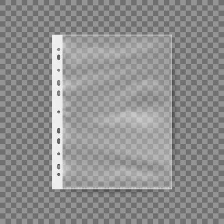 Empty Plastic Bag For A4 Sheet. Punched Pocket Business File. EPS10 Vector