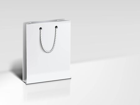 3D White Paper Luxury Bag On Background