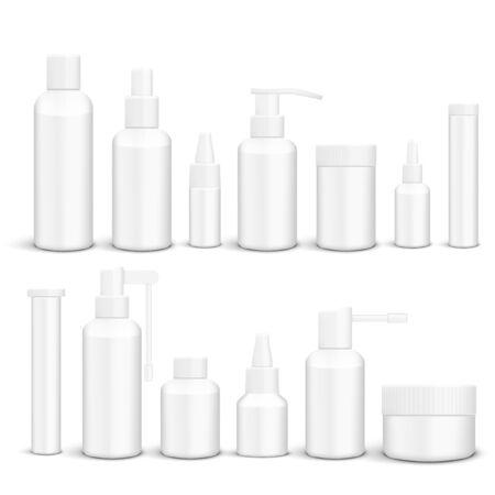 3D White Empty Packaging Medicine Bottles Isolated Vettoriali
