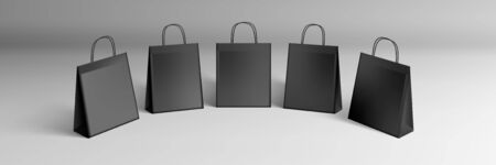 3D Black Shopping Paper Bags Set Isolated On White