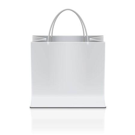 White Shopping Paper Bag Isolated On White Back