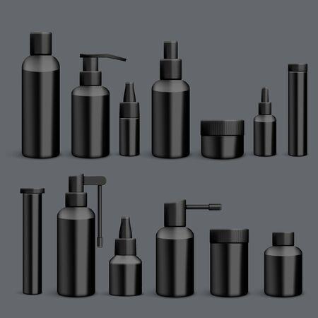 3D Black Empty Packaging Medicine Bottles Isolated Vettoriali