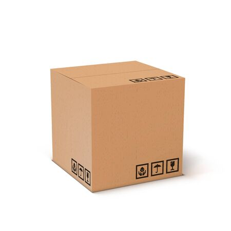 3D Brown Carton Delivery Packaging Container Box
