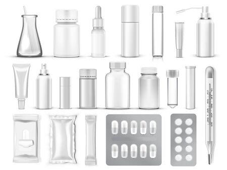 Big Set Of 3D Blank Medical Packaging Vettoriali