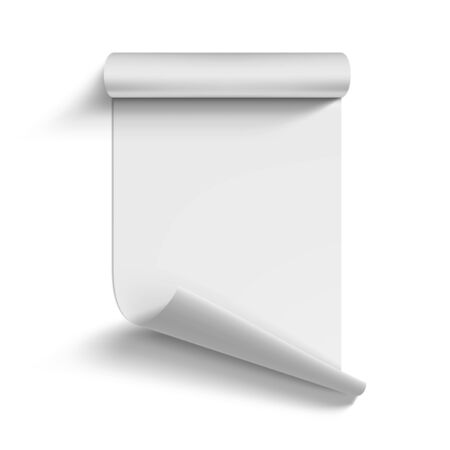 Roll Of Blank White Paper Curled On Corner Vettoriali