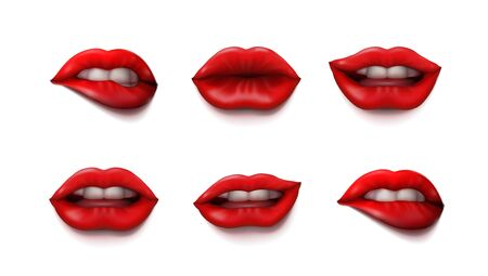 Woman Mouth Close Up With Red Lipstick Makeup Set