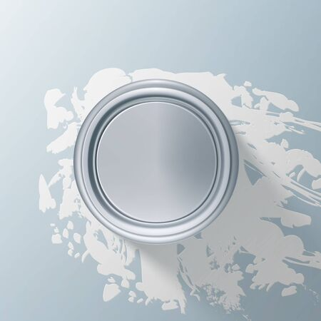 Paint Jar Bucket With Splashes Of White Paint