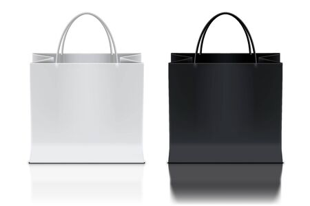 Black And White Shopping Bags On Background
