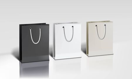 White Shopping Paper Bags Set On White Background