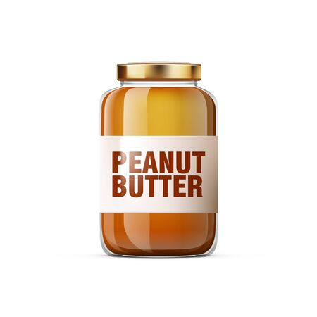 Realistic Glossy Peanut Butter Jar For Breakfast