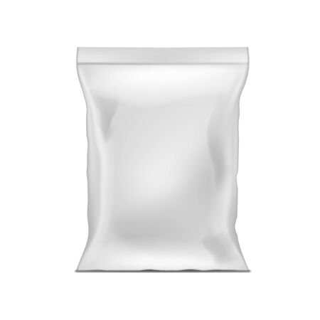 Blank White Plastic Bag Snack Packaging Isolated Vettoriali