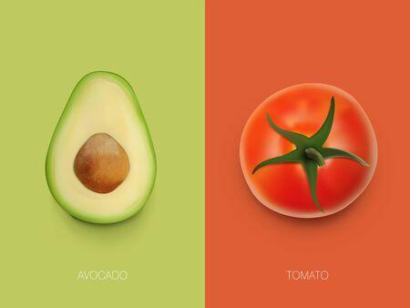 Simple Colorful Tomato And Avocado Food Template Vettoriali