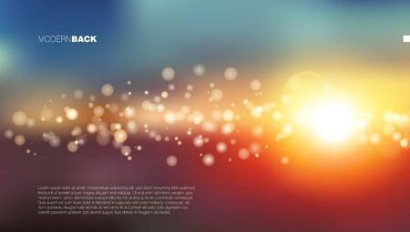 Abstract Colorful Bokeh Sun Light Beam Background Vettoriali