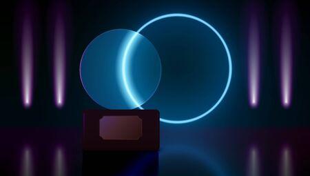 Glass Award In Dark Room With Neon Lights