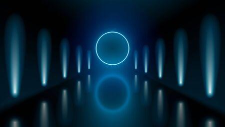 Dark Hall Room With Neon Lights And Circle Light