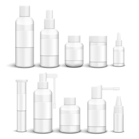 Blank Plastic Packaging Bottles With Cap Set Archivio Fotografico - 148144631