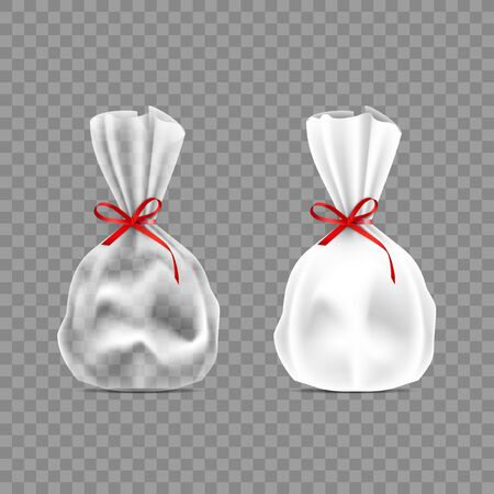 White And Transparent Plastic Candy Packs With Bow Archivio Fotografico - 149015218