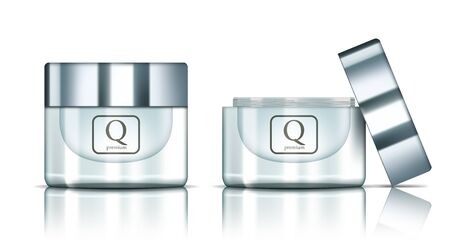 Open And Close Glossy Silver Glass Jar Cosmetics