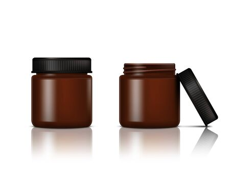 Open And Close Brown Glass Jar For Cosmetic Cream Vettoriali