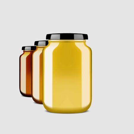 3D Clear Glossy Honey Jar With Shadow Vettoriali
