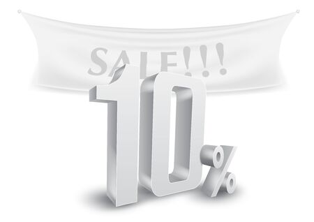 10 Percent Off Silver Sale Text Discount Template Vettoriali