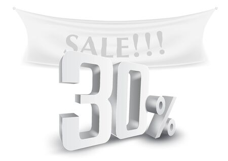 30 Percent Off Silver Sale Text Discount Template