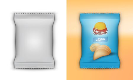 3D Realistic Foil Plastic Chips Pack Template