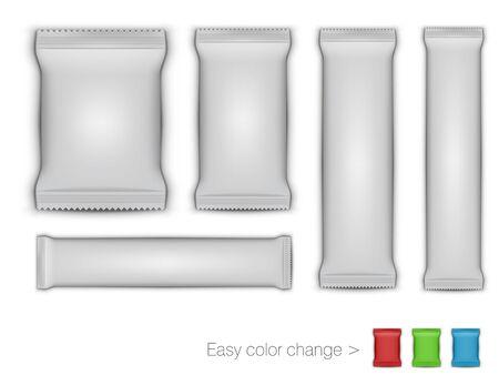 White Glossy Foil Packaging For Branding. Easy Color Change. EPS10 Vector