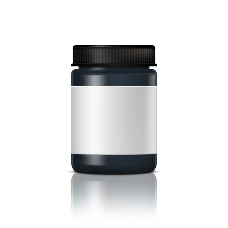 Black Glossy Glass Jar For Cosmetic Cream. Realistic Cosmetic Package. EPS10 Vector Archivio Fotografico - 149021059