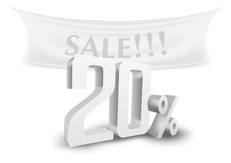 20 Percent Off Silver 3D Sale Text Discount Template. EPS10 Vector